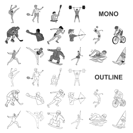 Different kinds of sports monochrom icons in set collection for design. Athlete, competitions vector symbol stock  illustration. Ilustracja
