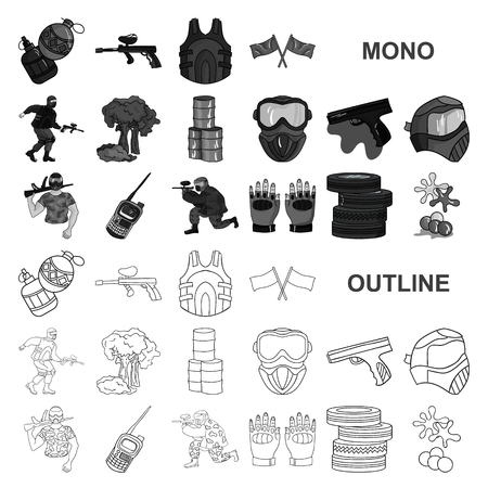 Paintball, team game monochrom icons in set collection for design. Equipment and outfit vector symbol stock  illustration.