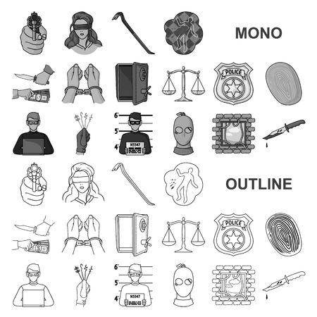 Crime and Punishment monochrom icons in set collection for design.Criminal vector symbol stock illustration.