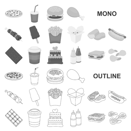 Fast food monochrom icons in set collection for design.Food from semi-finished products vector symbol stock  illustration. Illusztráció