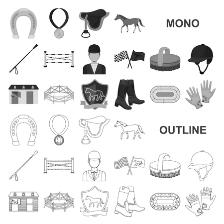 デザインのためのセットコレクションのヒッポドロームと馬のモノクロのアイコン。競馬と装備ベクトルシンボルのストックイラスト。 ベクターイラストレーション