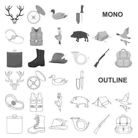 Hunting and trophy monochrom icons in set collection for design. Hunting and equipment vector symbol stock  illustration.