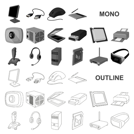 Personal computer monochrom icons in set collection for design. Equipment and accessories vector symbol stock  illustration.