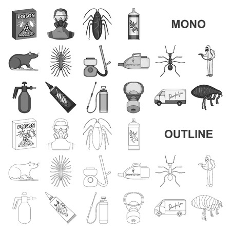 Pest, poison, personnel and equipment monochrom icons in set collection for design. Pest control service vector symbol stock illustration.