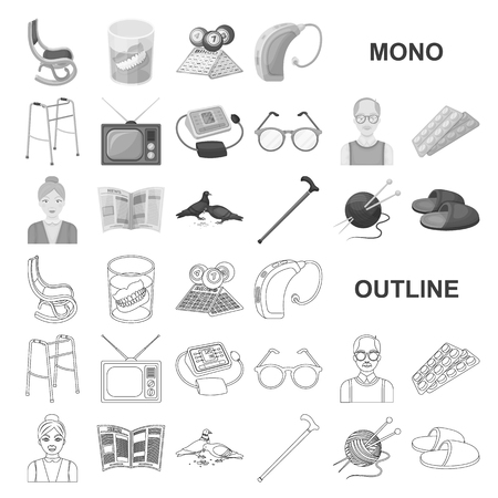 Human old age monochrom icons in set collection for design. Pensioner, period of life vector symbol stock web illustration.