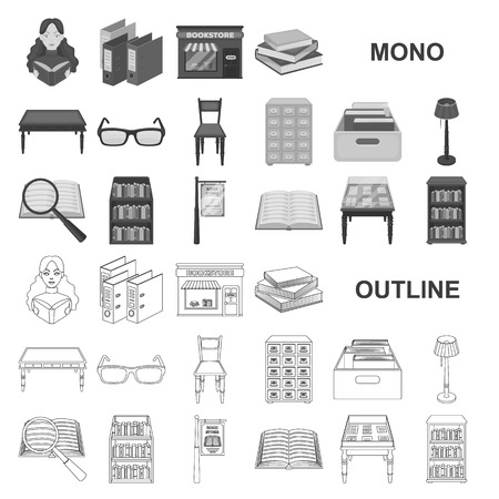 Library and bookstore monochrom icons in set collection for design. Books and furnishings vector symbol stock web illustration.