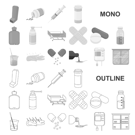 Medicine and treatment monochrom icons in set collection for design. Medicine and equipment vector symbol stock web illustration.