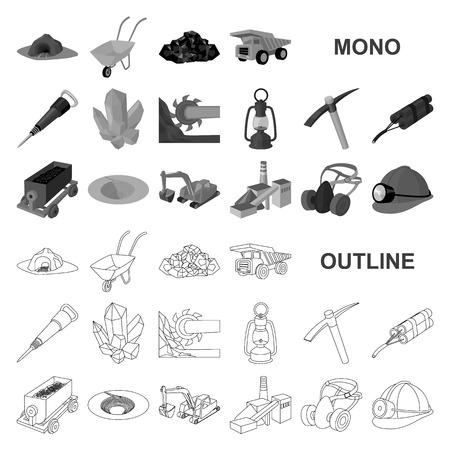 Mining industry monochrom icons in set collection for design. Equipment and tools vector symbol stock web illustration. Vektoros illusztráció