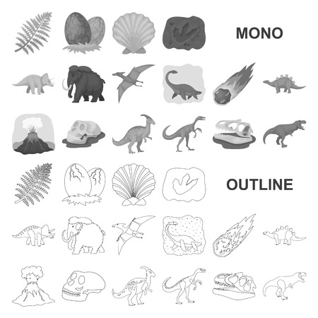 Different dinosaurs monochrom icons in set collection for design. Prehistoric animal vector symbol stock web illustration.
