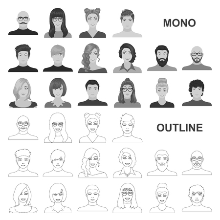 Avatar and face monochrom icons in set collection for design. A person appearance vector symbol stock web illustration. Ilustração