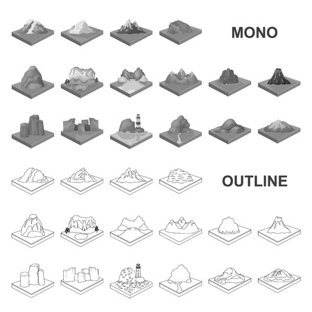 Mountains, massive monochrom icons in set collection for design. The surface of the earth vector isometric symbol stock web illustration.