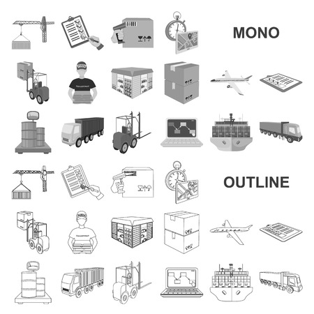 Logistics and delivery monochrom icons in set collection for design. Transport and equipment isometric vector symbol stock web illustration.