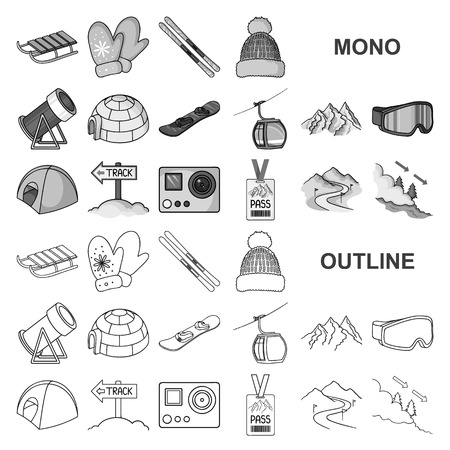 Ski resort and equipment monochrom icons in set collection for design. Entertainment and recreation vector symbol stock web illustration.