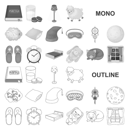Rest and sleep monochrom icons in set collection for design. Accessories and comfort vector symbol stock web illustration.