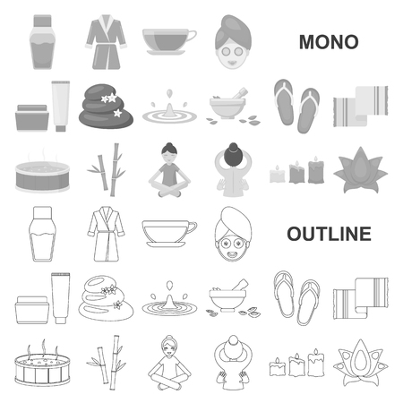 Spa salon and equipment monochrom icons in set collection for design. Relaxation and rest vector symbol stock  illustration.