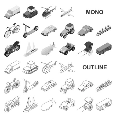 Different types of transport monochrom icons in set collection for design. Car and ship isometric vector symbol stock  illustration.