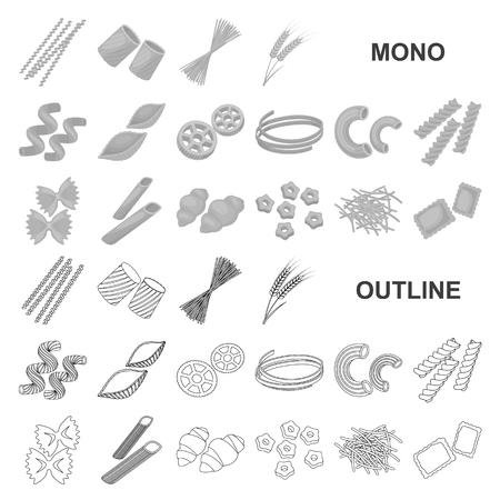 Tipi di icone monochrom di pasta nella raccolta di set per il design. Maccheroni calcolati per mangiare l'illustrazione delle azione di simbolo di vettore. Vettoriali