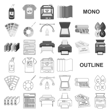 Typographical products monochrom icons in set collection for design. Printing and equipment vector symbol stock  illustration.