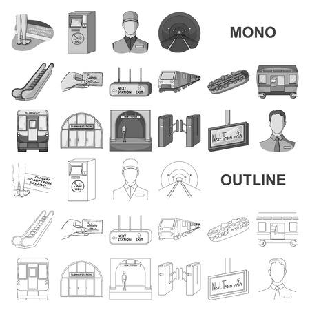 Metro, subway monochrom icons in set collection for design.Urban transport vector symbol stock  illustration. Illustration