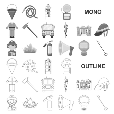 Fire Department monochrom icons in set collection for design. Firefighters and equipment vector symbol stock web illustration.