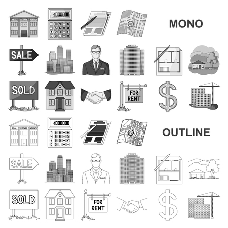 agency monochrom icons in set collection for design. Buying and selling real estate vector symbol stock web illustration. Illustration
