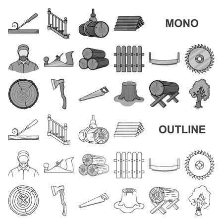 Aserradero y madera, monocromo, iconos de colección set de diseño. Ilustración de stock de símbolo de vector de hardware y herramientas. Ilustración de vector