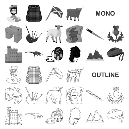 Country Scotland monochrom icons in set collection for design. Sightseeing, culture and tradition vector symbol stock web illustration.
