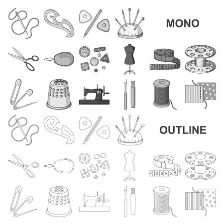 Nähen, Atelier-Monochrom-Symbole in Set-Kollektion für Design. Werkzeugsatzvektorsymbolvorrat-Netzillustration.