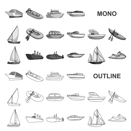 Water and sea transport monochrom icons in set collection for design. A variety of boats and ships vector symbol stock web illustration.