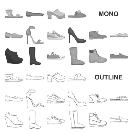 A variety of shoes monochrom icons in set collection for design. Boot, sneakers vector symbol stock web illustration. Illustration