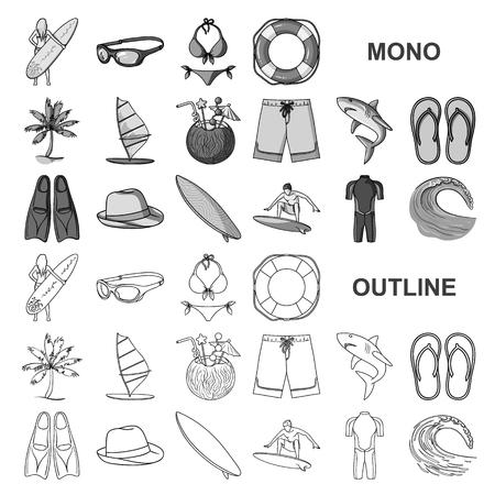 Surfen und extreme Monochrom-Symbole in der Set-Kollektion für Design. Surfer- und Zubehörvektorsymbolvorrat-Netzillustration.