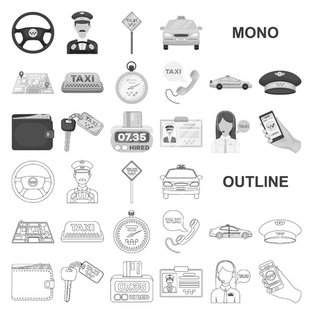 Taxi service monochrom icons in set collection for design. Taxi driver and transport vector symbol stock web illustration.