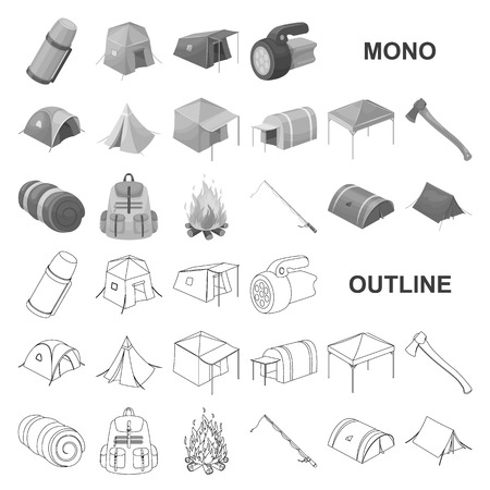 Different kinds of tents monochrom icons in set collection for design. Temporary shelter and housing vector symbol stock web illustration. Vectores