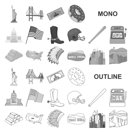 USA country monochrom icons in set collection for design.Travel and attractions vector symbol stock web illustration.