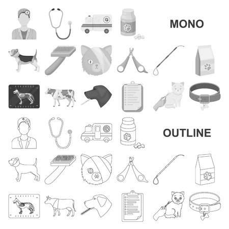 Veterinary clinic monochrom icons in set collection for design. Treatment of a pet vector symbol stock web illustration.