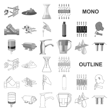 Water filtration system monochrom icons in set collection for design. Cleaning equipment vector symbol stock web illustration.