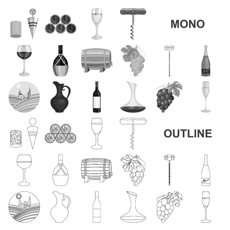 Wine products monochrom icons in set collection for design. Equipment and production of wine vector symbol stock web illustration. Ilustração Vetorial