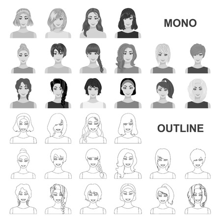 Types of female hairstyles monochrom icons in set collection for design. Appearance of a woman vector symbol stock web illustration.
