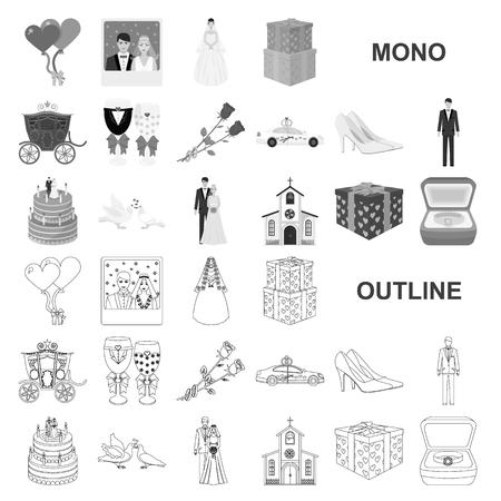 Boda y atributos monocromo iconos de colección set de diseño. Recién casados y accesorios vector ilustración de símbolo stock web.