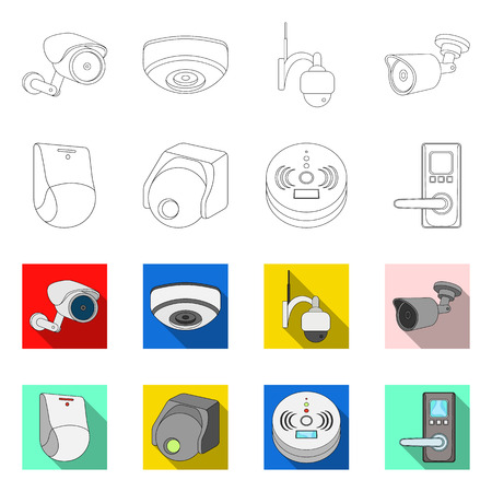Isolated object of cctv and camera sign. Set of cctv and system stock symbol for web.