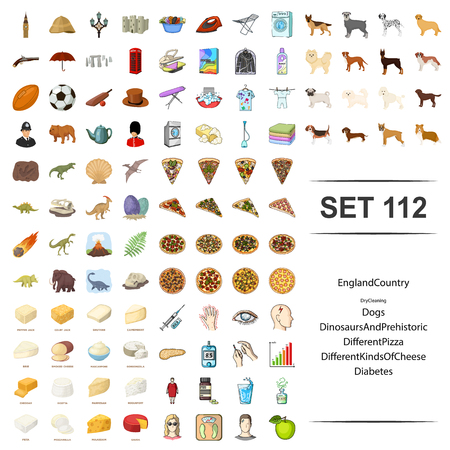 Vector illustration of country England, dry cleaning, dog, dinosaurs prehistoric, types of coffee, pizza diabetes icon set.