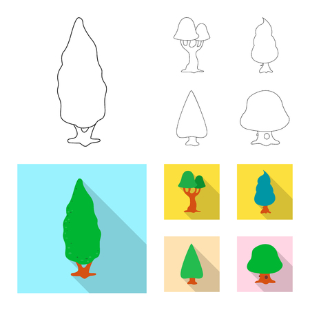 Isolated object of tree and nature icon. Set of tree and crown vector icon for stock. Иллюстрация