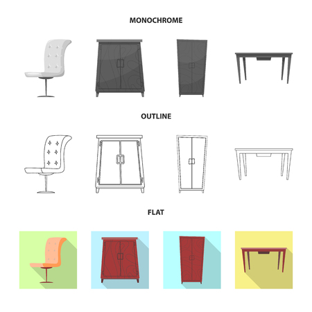 Vector design of furniture and apartment logo. Set of furniture and home stock symbol for web. 矢量图像