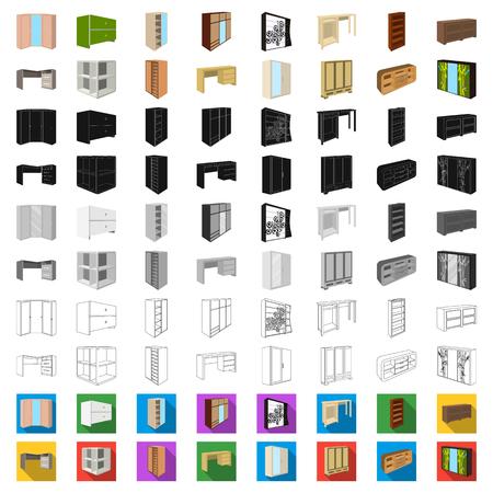 Schlafzimmermöbelkarikaturikonen in der Satzsammlung für Design. Isometrische Vektorsymbol-Vorratillustration der modernen hölzernen Möbel. Vektorgrafik