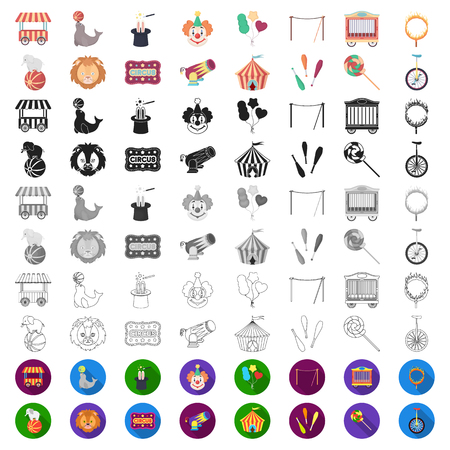 Zirkus und Attribute Cartoon-Symbole in Set-Sammlung für Design. Zirkuskunstvektorsymbol-Vorratillustration.
