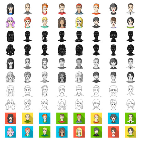 Avatar and face cartoon icons in set collection for design. A person appearance vector symbol stock illustration. Illustration