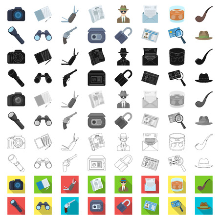 Detective and Attributes cartoon icons in set collection for design.Detective Agency vector symbol stock  illustration.