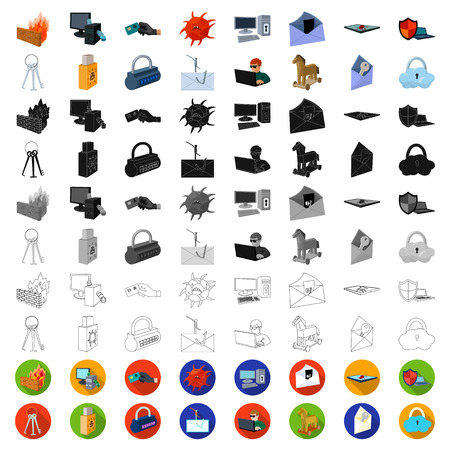 Hacker and hacking cartoon icons in set collection for design. Hacker and equipment vector symbol stock web illustration. Illustration