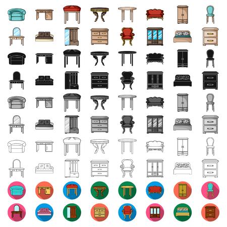 Möbel- und Innenkarikaturikonen in der Satzsammlung für das Design. Vektorgrafik