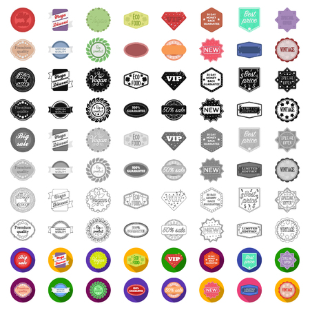Different label cartoon icons in set collection for design. Index and brand vector symbol stock web illustration.